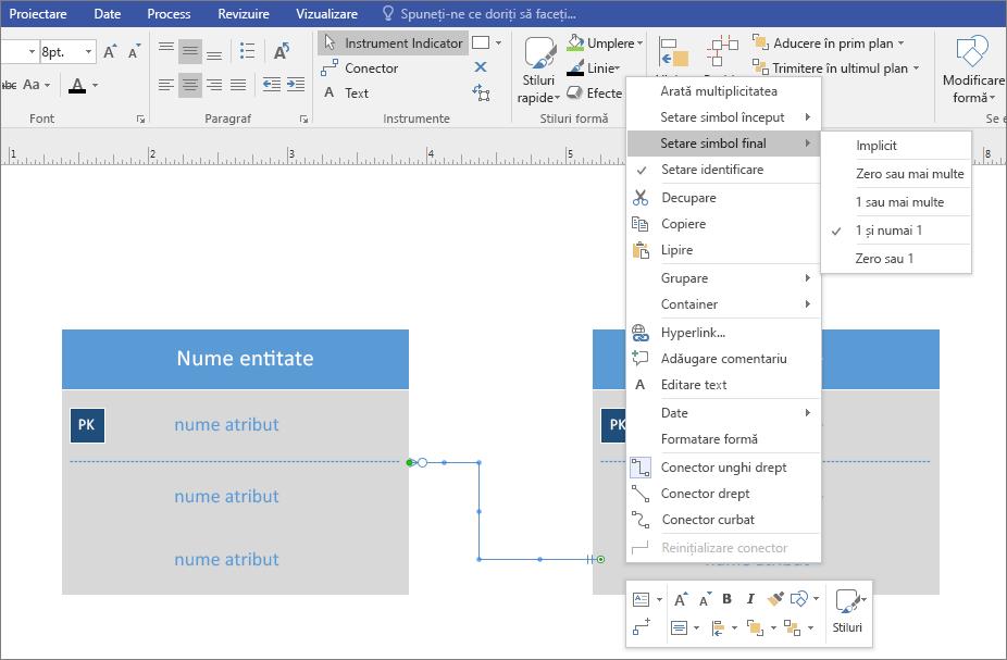 Faceți clic dreapta pe linia de relație din nou, faceți clic pe setarea sfârșit simbol și alegeți din listă.