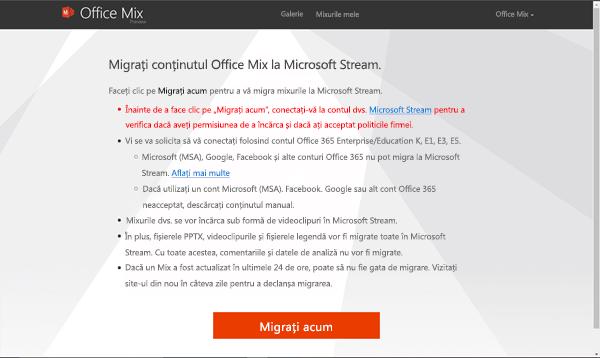 Faceți clic pe migrarea acum pentru a începe migrarea de adaos din site-ul Office Mix la Microsoft Stream.