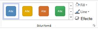 Opțiuni stil formă din Visio pentru web.