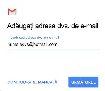Adăugați adresa de e-mail