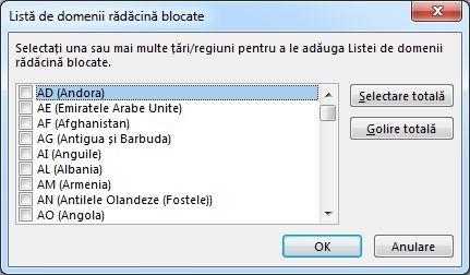 Caseta de dialog listă de domenii rădăcină blocate