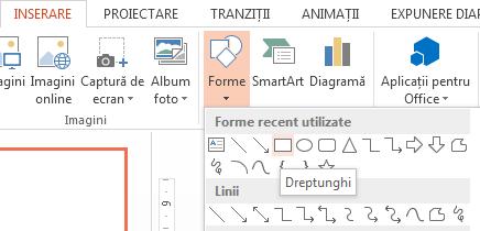 Puteți să selectați o formă, cum ar fi un dreptunghi, din secțiunea Forme a grupului Ilustrații.