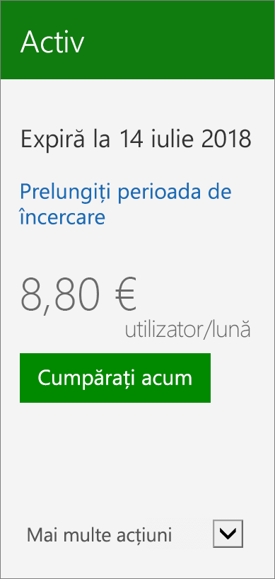 Detaliu a cartelei de abonament care afișează data de versiunea de încercare expiră, un link pentru a extinde versiunea de încercare și un buton pentru a cumpăra acum.