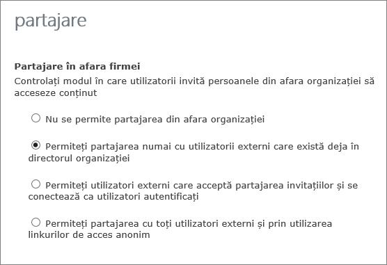 Opțiuni pentru partajarea cu utilizatorii externi