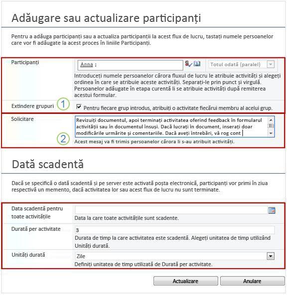Formular de modificare pentru activități viitoare