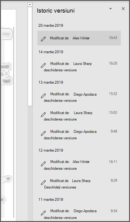 Panoul Istoric versiuni din Office afișând mai multe versiuni anterioare ale fișierului