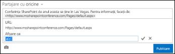 Link la o pagină web formatat cu text de afișare
