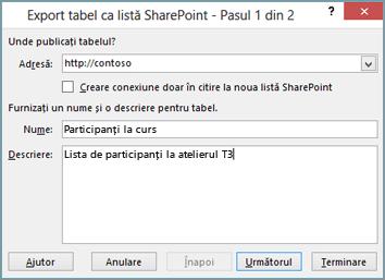 caseta de dialog a expertului de export la sharepoint