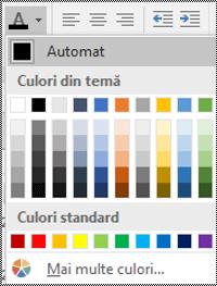 Meniul Culoare font din Excel pentru Windows desktop.