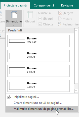 Captură de ecran a opțiunii Mai multe dimensiuni de pagină prestabilite de pe fila Proiectare pagină din Publisher