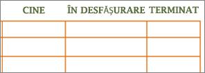 Șablonul Listă de făcut Word vechi, cu celule necompletate în rânduri și coloane.