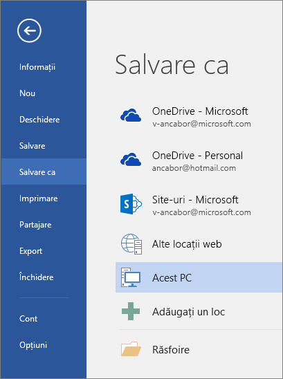 Opțiunile Salvare ca sunt afișate după ce faceți clic pe Acest PC.