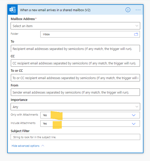 Power automatizat-când sosește un e-mail nou într-o cutie poștală partajată v2-opțiuni pentru atașări