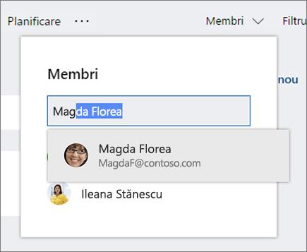 Captură de ecran a listei Membri atunci când introduceți numele unui membru nou al planului.