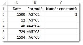 Date din coloana A, formule din coloana B și numărul 3 din celula C2