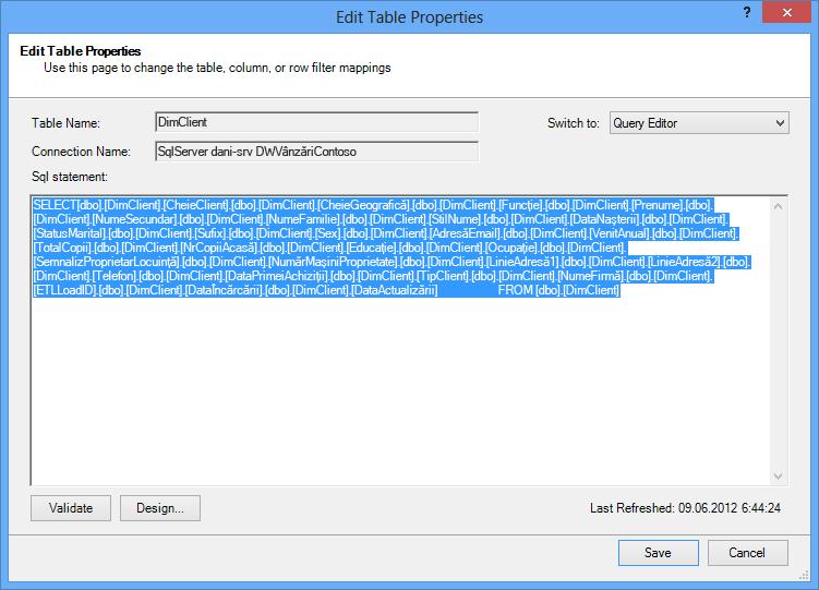 Interogarea SQL utilizată pentru a regăsi datele