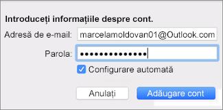 Adăugarea unui cont de e-mail