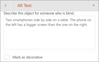 Caseta de dialog text alternativ pentru o imagine în PowerPoint pentru Android.