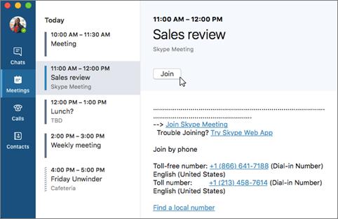Asocierea la o întâlnire Skype for Business