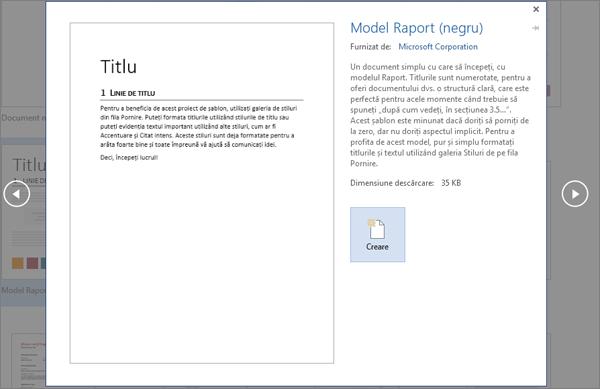 Se afișează o Examinare a șablonului Proiectare raport în Word 2016.