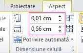 Setarea înălțimea și lățimea de o celulă de tabel