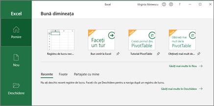 Excel creează un registru de lucru