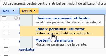 Editarea permissioins utilizator din meniul acțiune