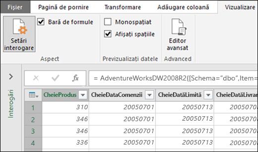 Power Query - Fontul monospațiat pentru previzualizarea din Editorul de interogare