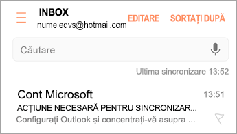 """Deschideți mesajul de e-mail care spune """"Acțiune necesară"""""""