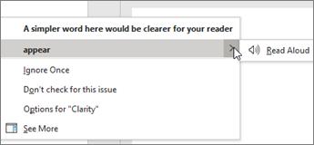 Meniul contextual editor vă oferă mai multe opțiuni pentru sugestia curentă.