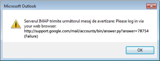 """Dacă primiți mesajul de eroare """"Serverul IMAP trimite următorul mesaj de avertizare"""", verificați dacă setările Gmail mai puțin sigure au fost setate la Activat pentru ca Outlook să vă poată accesa mesajele."""