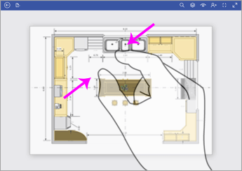 Pentru a micșora, atingeți diagrama cu două degete și le apropiați.