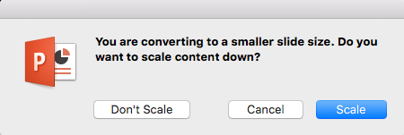 Atunci când modificați dimensiuni de diapozitiv, PowerPoint vă întreabă dacă doriți să Scala conținutul pentru a se potrivi pe diapozitiv.