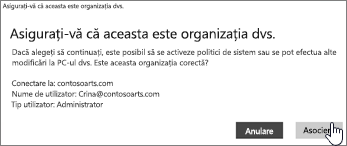 Pe ecranul Asigurați-vă că aceasta este organizația dvs., faceți clic pe Asociere