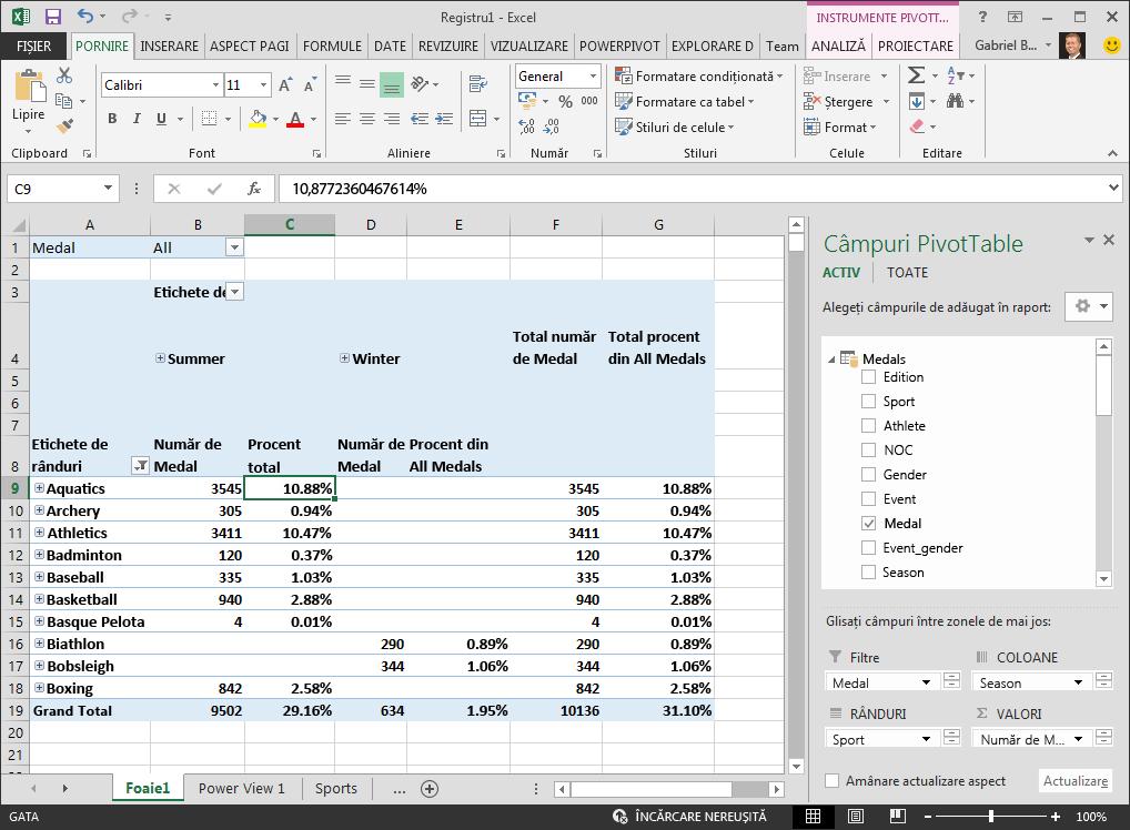 PivotTable afișează date procentuale