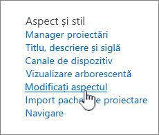 Secțiunea aspect și stil setări site cu modificarea aspectului evidențiat