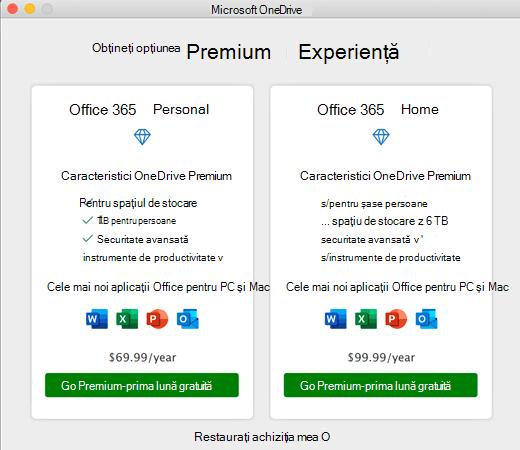 Captură de ecran cu OneDrive obțineți caseta de dialog experiență Premium