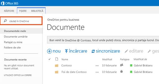 Captură de ecran a casetei Interogare OneDrive din Office 365.