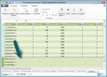 Zona de calcul PowerPivot