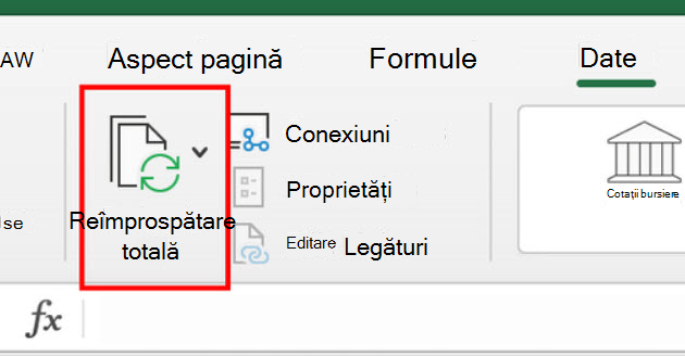 Comanda Resfresh toate din panglică în Excel pentru Mac
