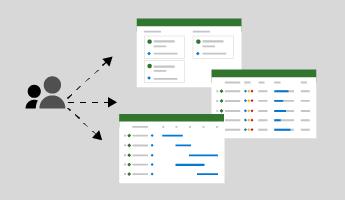 Imagine mică afișând săgeți între pictograma persoane și capturi de ecran din vizualizarea grilă, panou și cronologie în Project pentru web