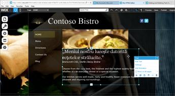 În Wix website design, alegeți Edit