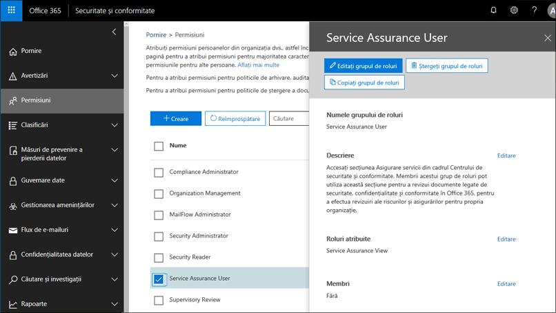 Serviciu Assurance utilizator - adăugați