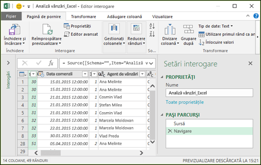 Panoul Power Query Editor