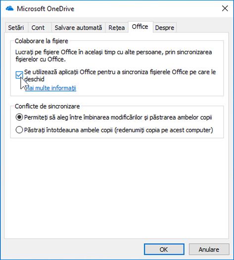 Captură de ecran a filei Office din Setări pentru clientul de sincronizare OneDrive