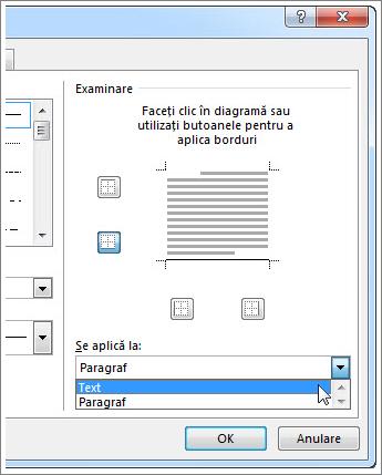 Se aplică la meniul vertical în caseta de dialog Borduri și umbrire