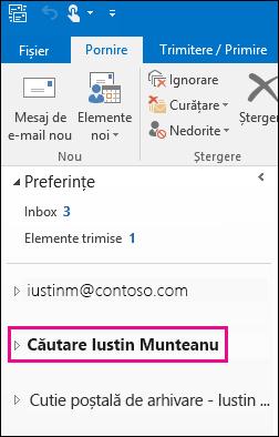 Fișierul PST apare în bara de navigare din stânga din Outlook