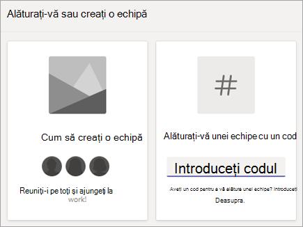 Introduceți un cod de echipă în asocierea la o echipă cu o dală de cod