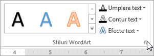 Selectarea lansatorul casetei de dialog stiluri WordArt