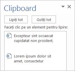 Afișează panoul de activități Clipboard cu conținut copiat